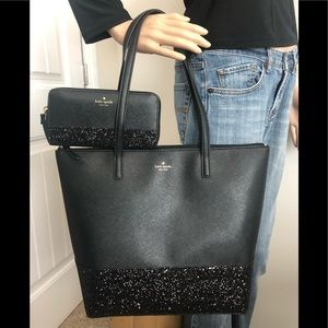 Kate spade black glitter tote and wallet SET